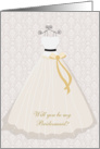 Wedding dress on pink damask - Bridesmaid Request card