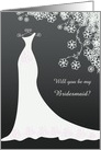 Weding, Bridesmaid - white gown and flowers on black card