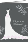 Wedding dress and swirls - Bridesmaid Request card