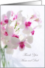 Wedding Thank you Mum and Dad - White Orchids card