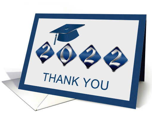 Graduation gift Thank You - Silver blue Mortar and Diploma card