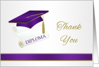 Graduation Thank You - Black and white Mortar and Diploma card
