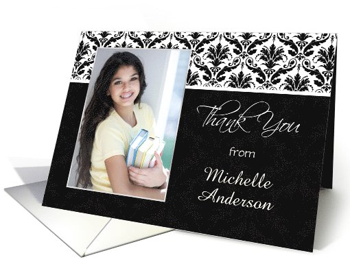 Thank You for Graduation Gift - Black and white Damask pattern card