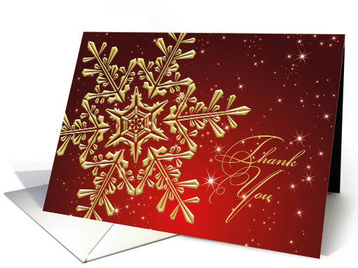 Thank you for Christmas gift - golden snowflake on red card (497406)