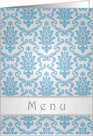 Wedding Menu card, Damask silver-blue card