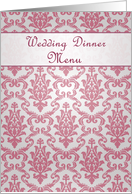 Wedding Dinner Menu card, damask dark pink card