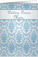 Wedding Dinner Menu card, Damask azure - blue card