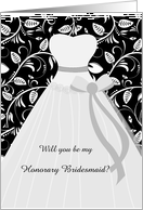 Wedding, Honorary Bridesmaid - white gown on leafy damask pattern card
