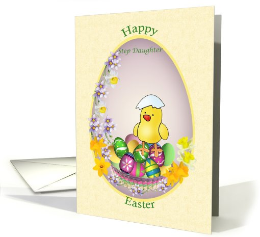 Easter card for Step Daughter- chick with colorful eggs... (587452)