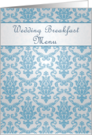Wedding Breakfast Menu - Damask azure - blue card