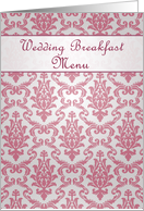 Wedding Breakfast Menu - Damask dark pink card