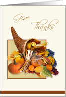 Give Thanks Thanksgiving card with cornucopia card
