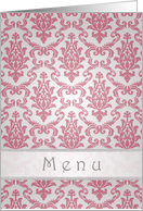 Wedding menu card - Elegant Damask dark pink pattern card