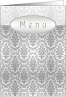 Wedding menu card - Elegant Damask silver-grey pattern card