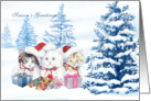 Winter christmas season card with kittens, tree and presents card