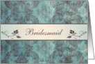 Wedding Menu Place card for Bridesmaid - Damask blue brown card