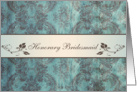 Wedding Menu Place card for Honorary Bridesmaid - Damask blue brown card
