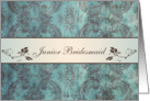 Wedding Menu Place card for Junior Bridesmaid - Damask blue brown card