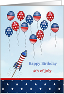 Birthday 4th of July - stars, stripes, ballons and rocket card