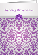 Wedding Dinner Menu - Damask pattern purple with amethyst picture card