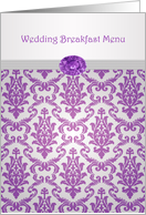 Wedding Breakfast Menu - Damask purple with amethyst picture card