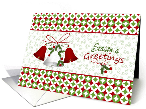 Business Christmas card for customers - bells and holly card (866097)
