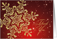 Business Thank You card - golden snowflake on starry red background card