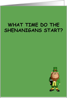 Funny St.Patrick's Day card shenanigans design card