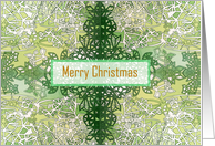 Merry Christmas zentangle inspired design card in green card