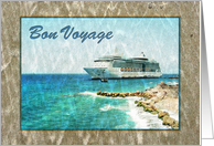 Bon Voyage - ocean view with cruise ship and beach card