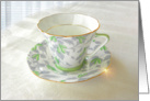 Antique Green Patterned Teacup card