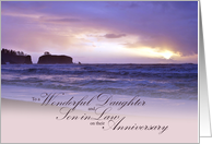 Anniversary for Daughter and Son in Law Beach Sunset card