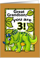 Great Grandson 3rd Birthday Dinosaur Card