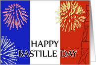 Happy Bastille Day-Fireworks and Eiffel Tower card
