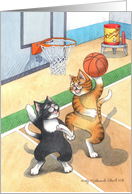 Basketball Happy Birthday Cats (Bud & Tony) card
