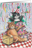 Cat Popping Out Of Cake Birthday (Bud & Tony) card