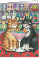 Cats Sharing Martini Anniversary (Bud & Tony) card