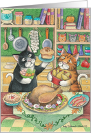 Cats W/Turkey Thanksgiving (Bud & Tony) card