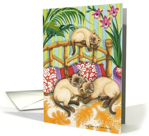 3 Siamese Kitty Cats  EK #6B card (395717)