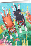Cats Snorkeling/Scuba Diving Birthday (Bud & Tony) card