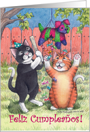 Cats & Spanish Birthday Pinata (Bud & Tony) card