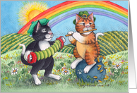 Cat Musicians On St. Patrick's Day (Bud & Tony) card
