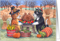 Cats On Thanksgiving W/Feast Of Plenty (Bud & Tony) card