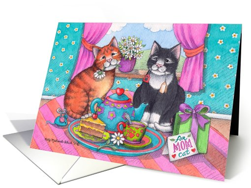 Mom Birthday Tea Cats (Bud & Tony) card (778679)