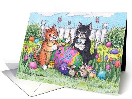 Easter Egg Decorating Cats Invite (Bud & Tony) card (779353)