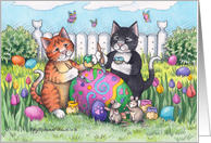 Easter Egg Decorating Cats Invite (Bud & Tony) card