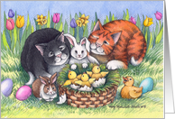 Easter Brunch Cats Invite (Bud & Tony) card