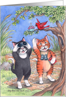 Birdwatching Cats Invite (Bud & Tony) card