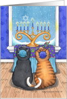 Hanukkah Menorah Cats (Bud & Tony) card