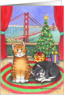 Holiday Greetings, San Francisco Xmas Cats (Bud & Tony) card